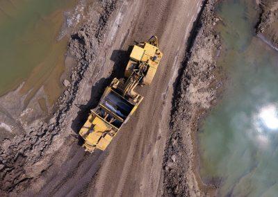 Aerial Drone Footage of a Tractor Scraper
