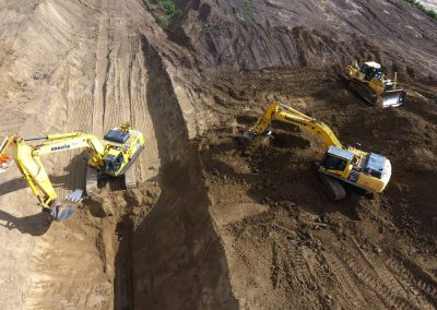 Komat'su Excavators Digging Water & Sewer Trenches at Rosenthal